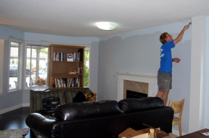 "Painting the living room ""Grey Mare"" - looks blue, though."