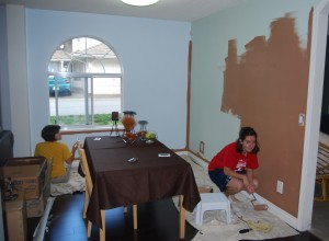 "Shannon and Andrea painting the dining room ""Cuban Cigar"""